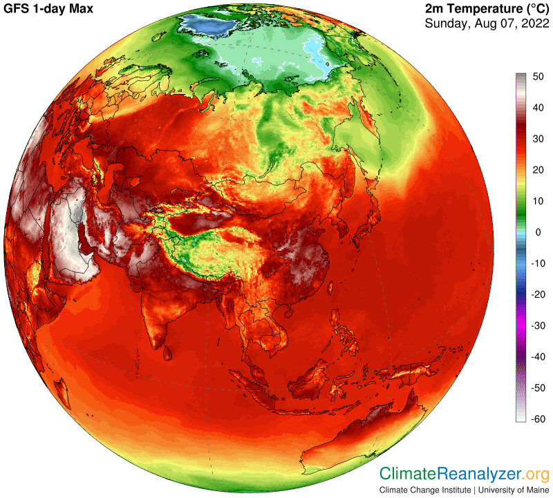 Temperature massime in Asia